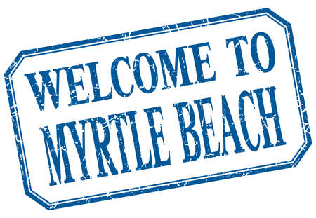 myrtle beach: Myrtle Beach - welcome blue vintage isolated label