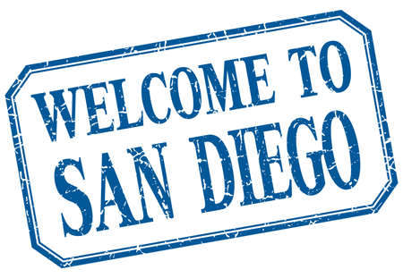 san diego: San Diego - welcome blue vintage isolated label