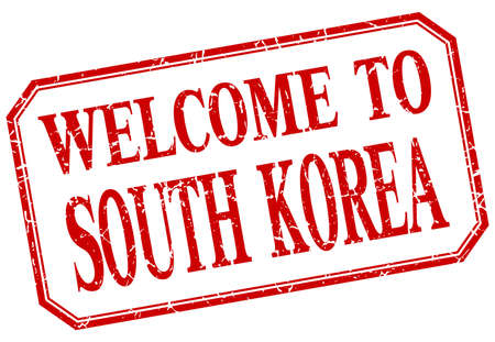south korea: South Korea - welcome red vintage isolated label
