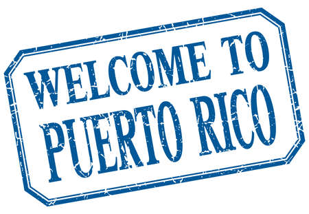 puerto rico: Puerto Rico - welcome blue vintage isolated label Illustration