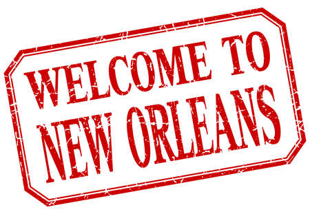 new orleans: New Orleans - welcome red vintage isolated label Illustration