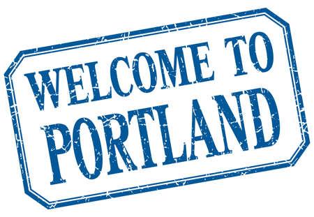 portland: Portland - welcome blue vintage isolated label Illustration