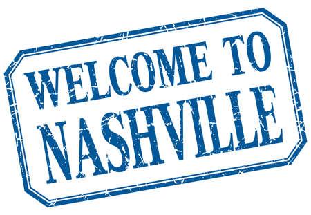 nashville: Nashville - welcome blue vintage isolated label