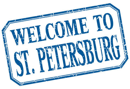 st petersburg: St. Petersburg - welcome blue vintage isolated label