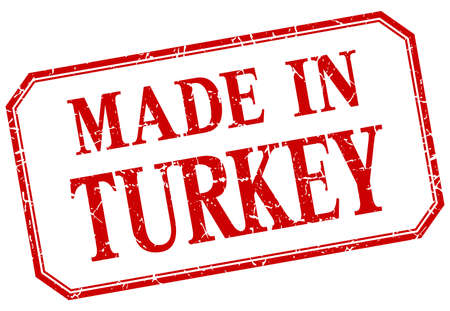 made in: Turkey - made in red vintage isolated label