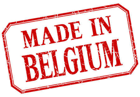 made in belgium: Belgium - made in red vintage isolated label