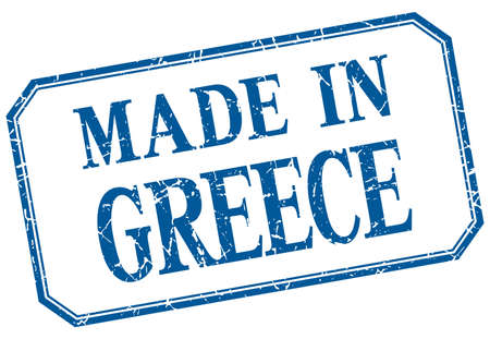 made in greece stamp: Greece - made in blue vintage isolated label