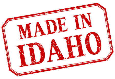 idaho: Idaho - made in red vintage isolated label