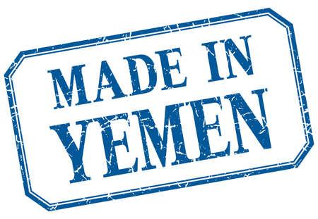 yemen: Yemen - made in blue vintage isolated label