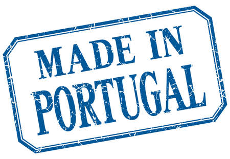 made in portugal: Portugal - made in blue vintage isolated label