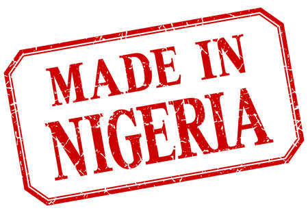 made in: Nigeria - made in red vintage isolated label
