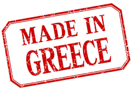 made in greece stamp: Greece - made in red vintage isolated label