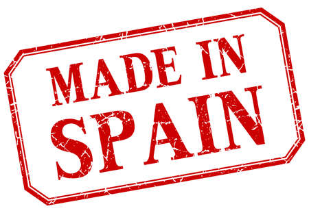 made in spain: Spain - made in red vintage isolated label