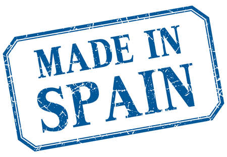 made in: Spain - made in blue vintage isolated label