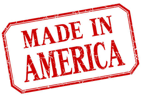 red america: America - made in red vintage isolated label Illustration