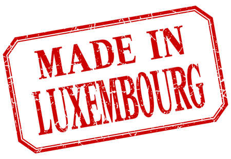 luxembourg: Luxembourg - made in red vintage isolated label