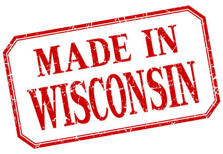 wisconsin: Wisconsin - made in red vintage isolated label
