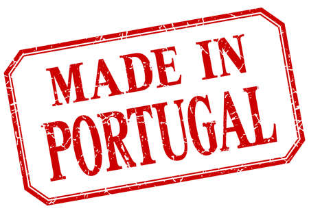 made in portugal: Portugal - made in red vintage isolated label Illustration