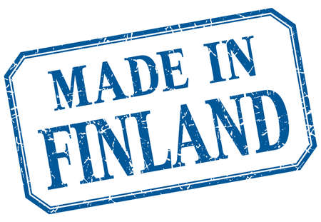 made in finland: Finland - made in blue vintage isolated label