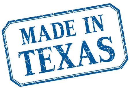 Texas - made in blue vintage isolated label