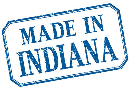 indiana: Indiana - made in blue vintage isolated label