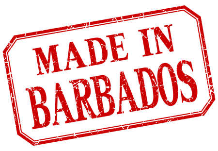 barbados: Barbados - made in red vintage isolated label Illustration