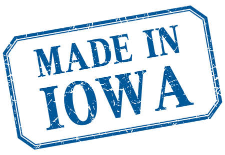 iowa: Iowa - made in blue vintage isolated label Illustration