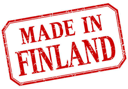 made in finland: Finland - made in red vintage isolated label