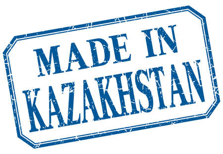 kazakhstan: Kazakhstan - made in blue vintage isolated label