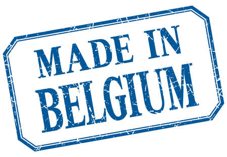made in belgium: Belgium - made in blue vintage isolated label