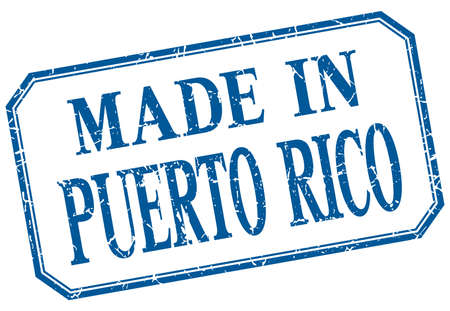 puerto rico: Puerto Rico - made in blue vintage isolated label Illustration