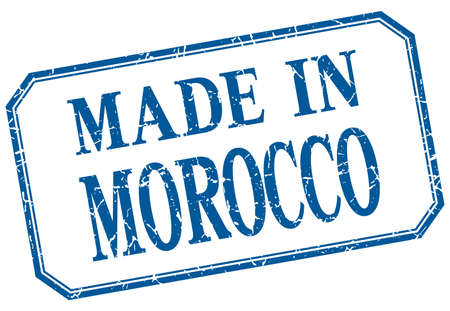 made in morocco: Morocco - made in blue vintage isolated label