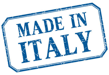 made in: Italy - made in blue vintage isolated label