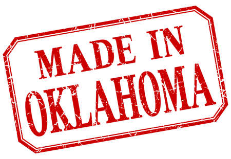 oklahoma: Oklahoma - made in red vintage isolated label