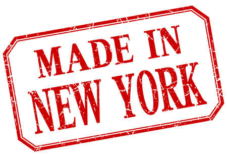 old new york: New York - made in red vintage isolated label