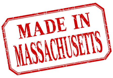 massachusetts: Massachusetts - made in red vintage isolated label