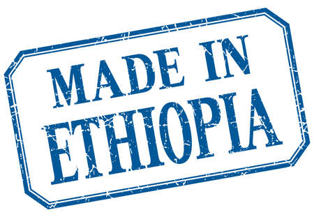 ethiopia: Ethiopia - made in blue vintage isolated label Illustration