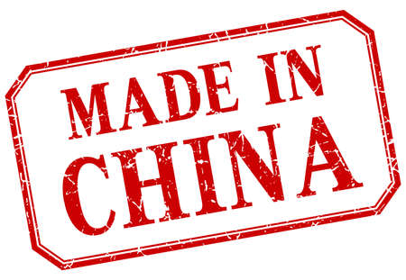 China - made in red vintage isolated label Illustration