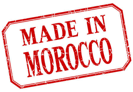 made in morocco: Morocco - made in red vintage isolated label Illustration