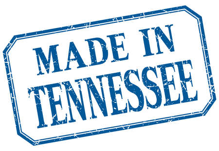tennesse: Tennessee - hecha en la etiqueta de la vendimia aislado azul