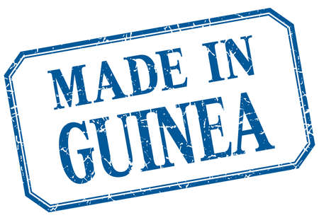 guinea: Guinea - made in blue vintage isolated label