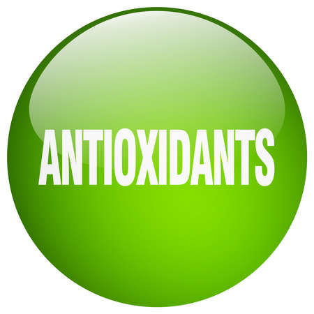 antioxidants: antioxidants green round gel isolated push button