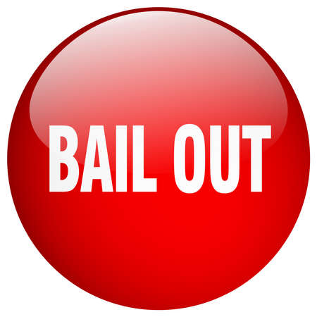 bail: bail out red round gel isolated push button