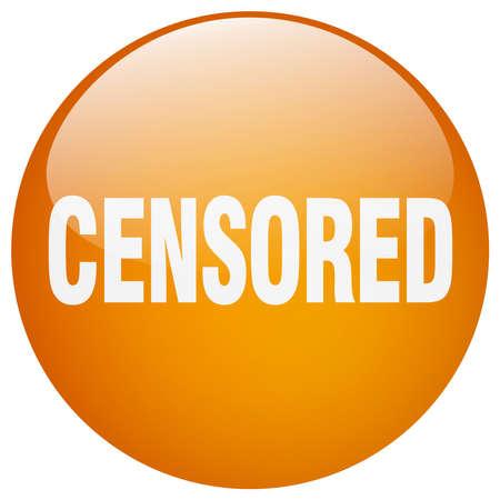 censored: censored orange round gel isolated push button