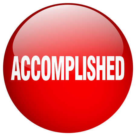 accomplish: accomplished red round gel isolated push button Illustration