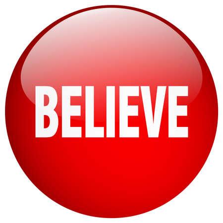 gel: believe red round gel isolated push button