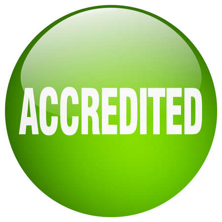 accredited: accredited green round gel isolated push button