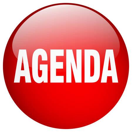 agenda: agenda red round gel isolated push button