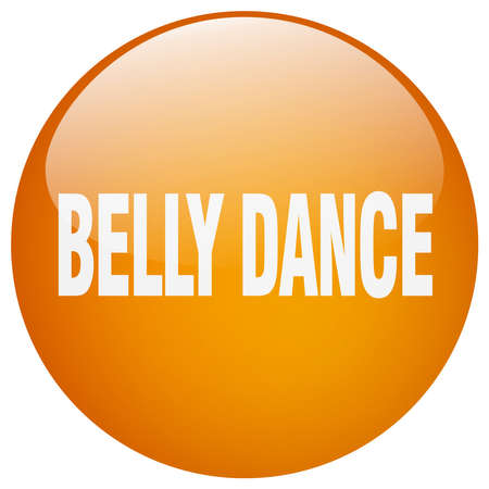 belly button: belly dance orange round gel isolated push button