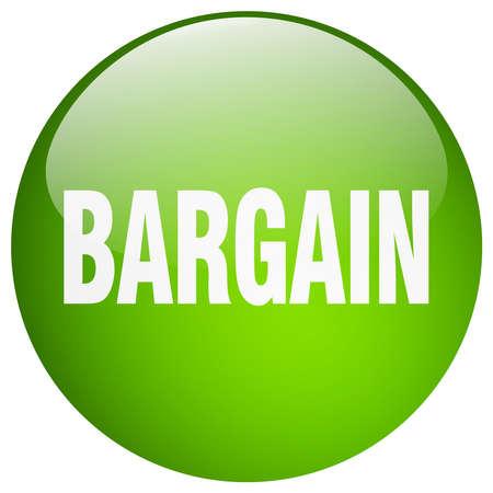 bargain: bargain green round gel isolated push button